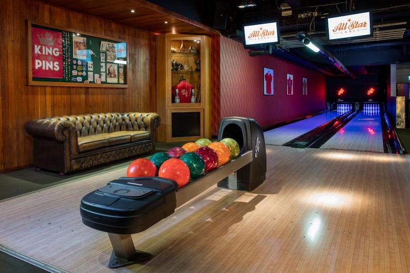 An image of a couple of the lanes in the interior of All Star Lanes Bowling Alley in Holborn