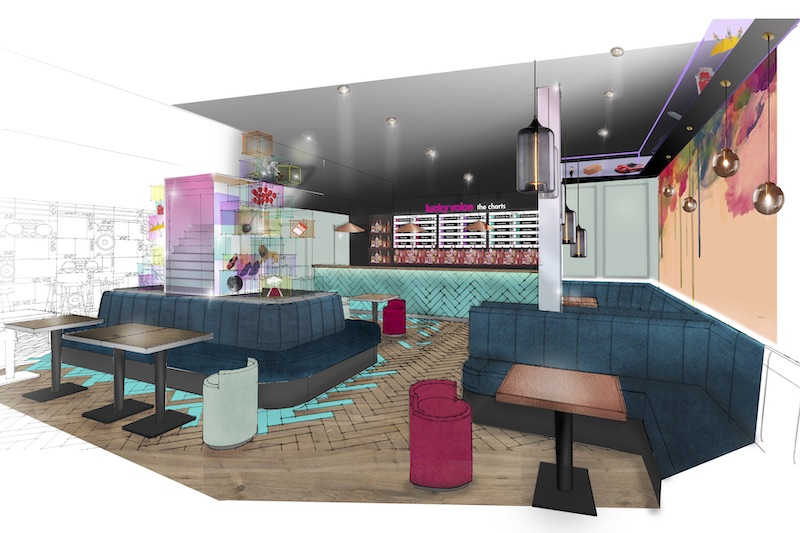 A render of Lucky Voice Holborn and its bar area which serves food and doubles up as a restaurant during the early evening